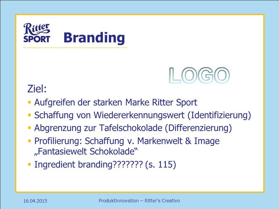 LOGO Branding Ziel: Aufgreifen der starken Marke Ritter Sport