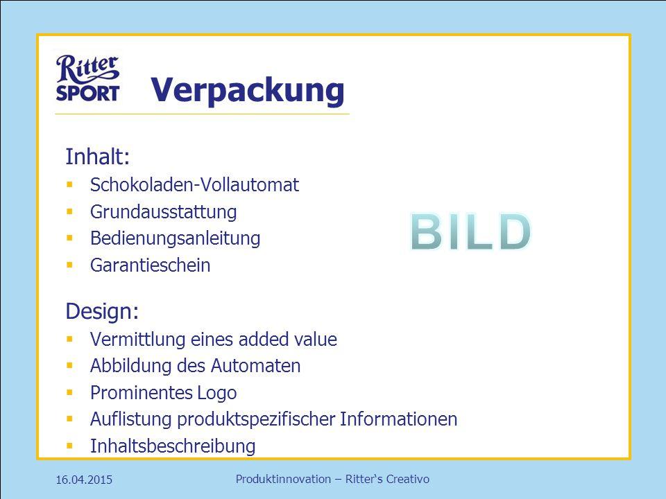 BILD Verpackung Inhalt: Design: Schokoladen-Vollautomat