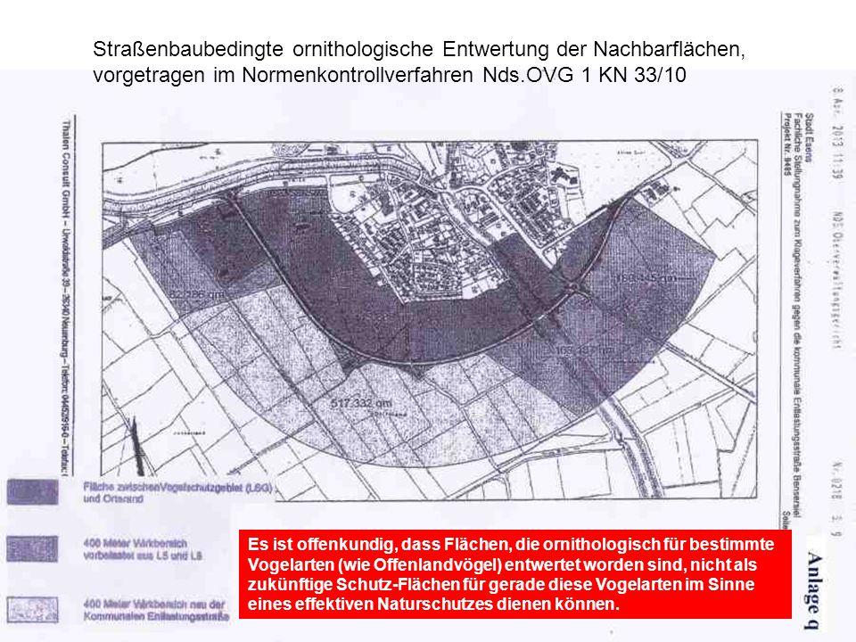 Straßenbaubedingte ornithologische Entwertung der Nachbarflächen,