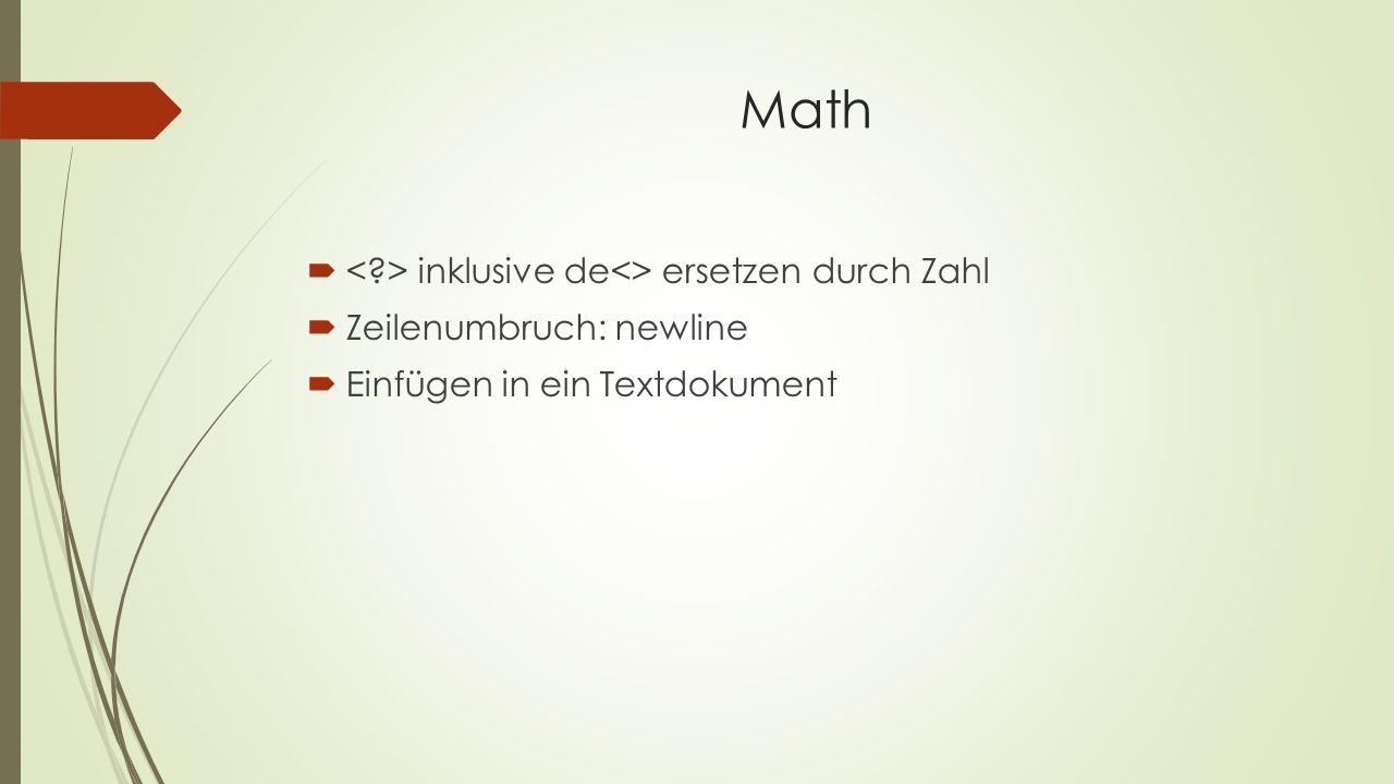 Math < > inklusive de<> ersetzen durch Zahl