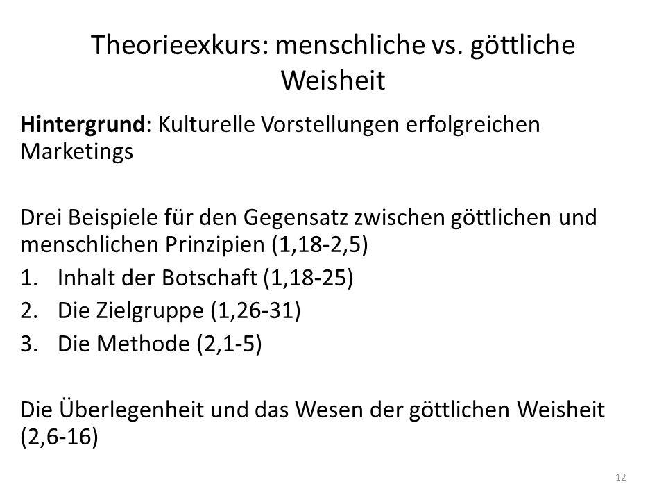 Theorieexkurs: menschliche vs. göttliche Weisheit