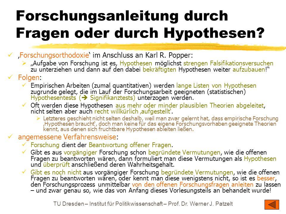 Forschungsanleitung durch Fragen oder durch Hypothesen