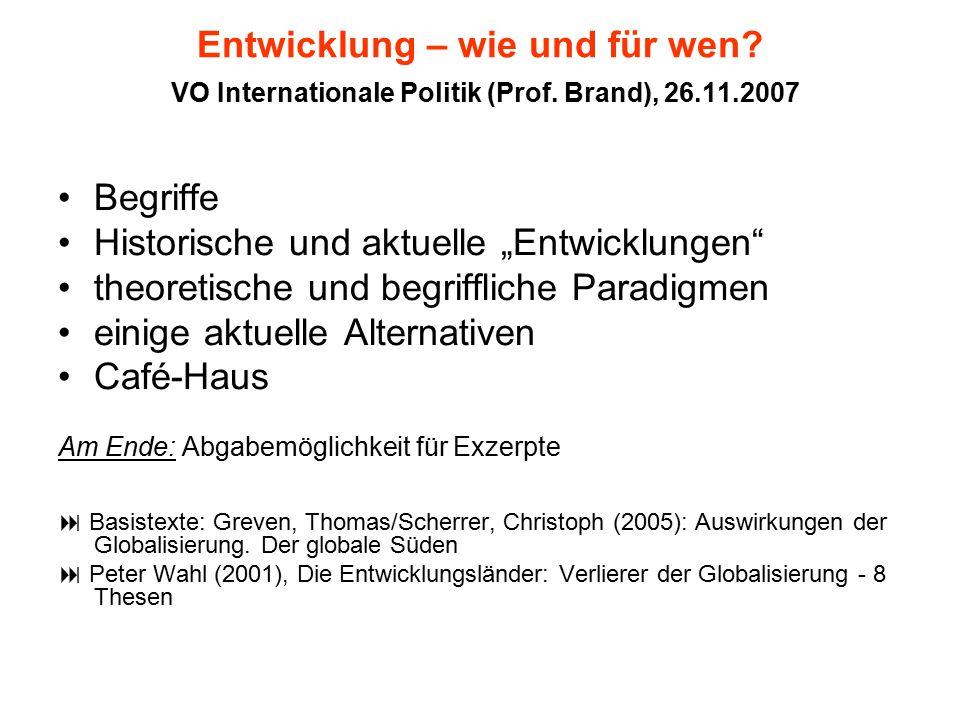 """Historische und aktuelle """"Entwicklungen"""