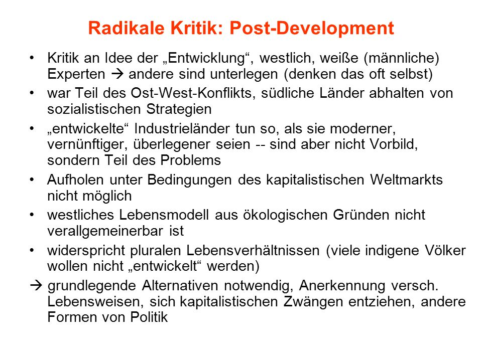 Radikale Kritik: Post-Development