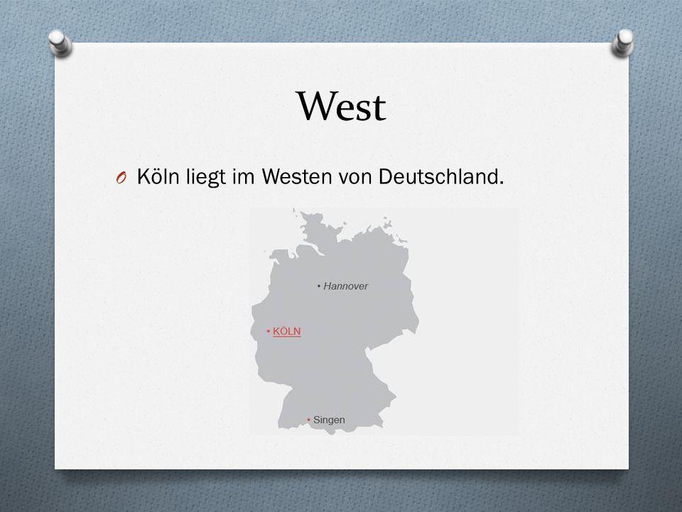 West Köln liegt im Westen von Deutschland.