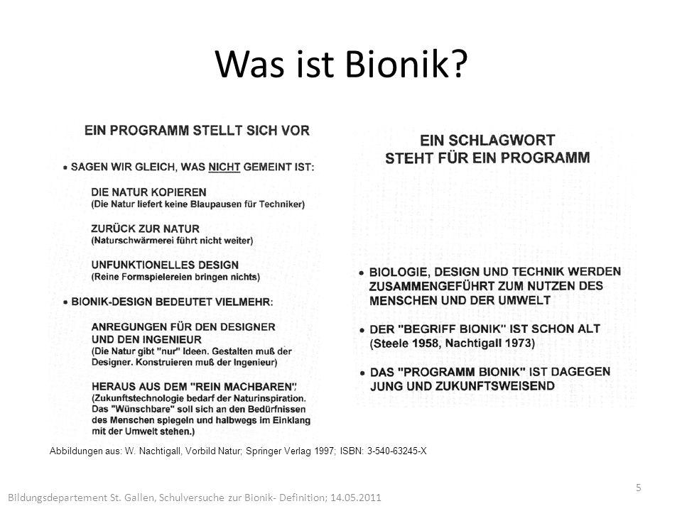 Was ist Bionik W. Nachtigall, Vorbild Natur; Springer Verlag 1997; ISBN: 3-540-63245-X.