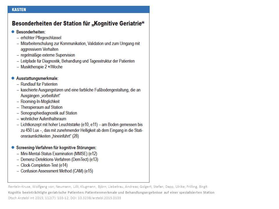 Renteln-Kruse, Wolfgang von; Neumann, Lilli; Klugmann, Björn; Liebetrau, Andreas; Golgert, Stefan; Dapp, Ulrike; Frilling, Birgit