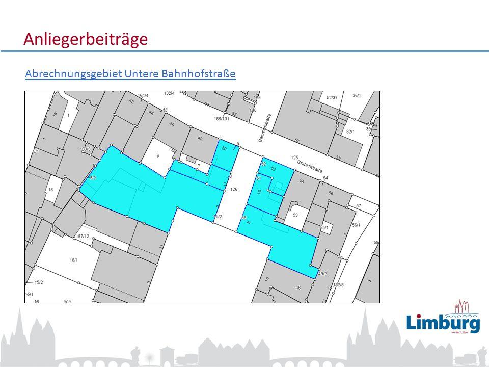 Anliegerbeiträge Abrechnungsgebiet Untere Bahnhofstraße