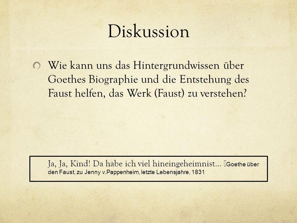 Diskussion Wie kann uns das Hintergrundwissen über Goethes Biographie und die Entstehung des Faust helfen, das Werk (Faust) zu verstehen
