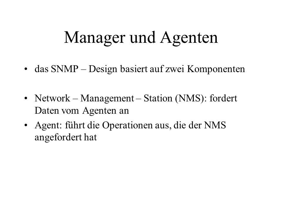 Manager und Agenten das SNMP – Design basiert auf zwei Komponenten
