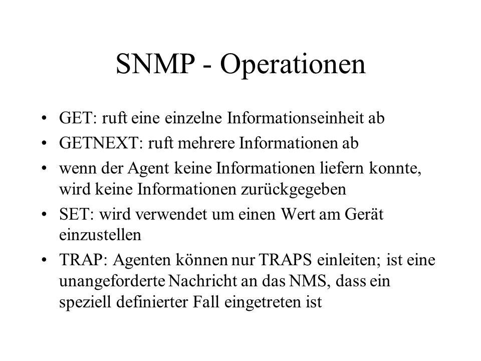 SNMP - Operationen GET: ruft eine einzelne Informationseinheit ab