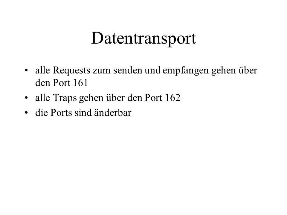 Datentransport alle Requests zum senden und empfangen gehen über den Port 161. alle Traps gehen über den Port 162.