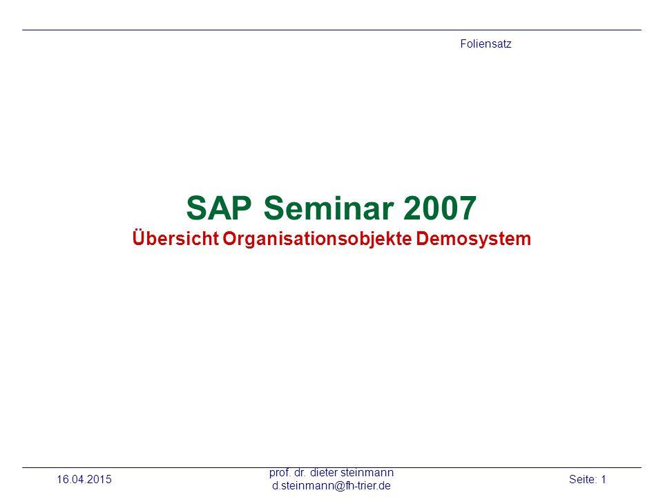SAP Seminar 2007 Übersicht Organisationsobjekte Demosystem