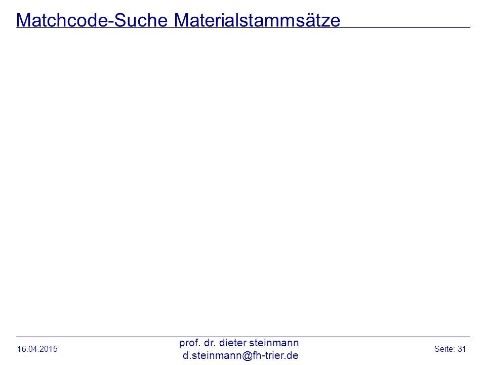 Matchcode-Suche Materialstammsätze