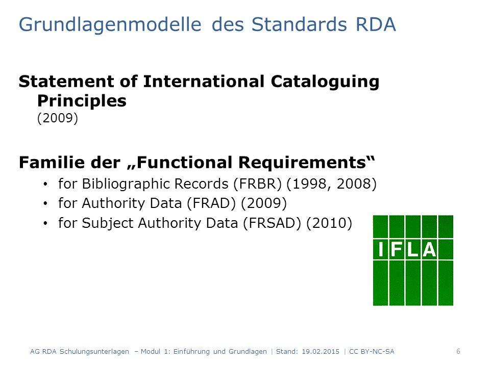 Grundlagenmodelle des Standards RDA