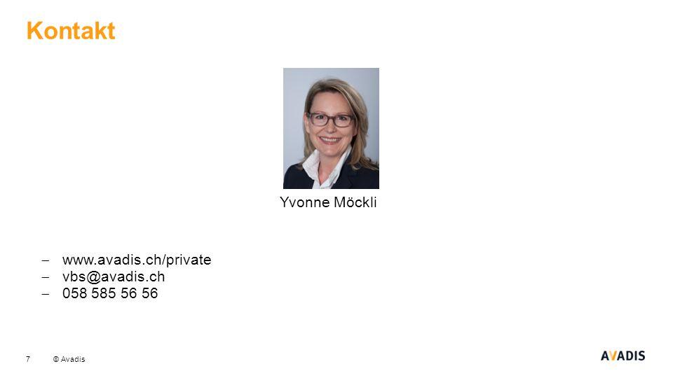 Kontakt Yvonne Möckli www.avadis.ch/private vbs@avadis.ch