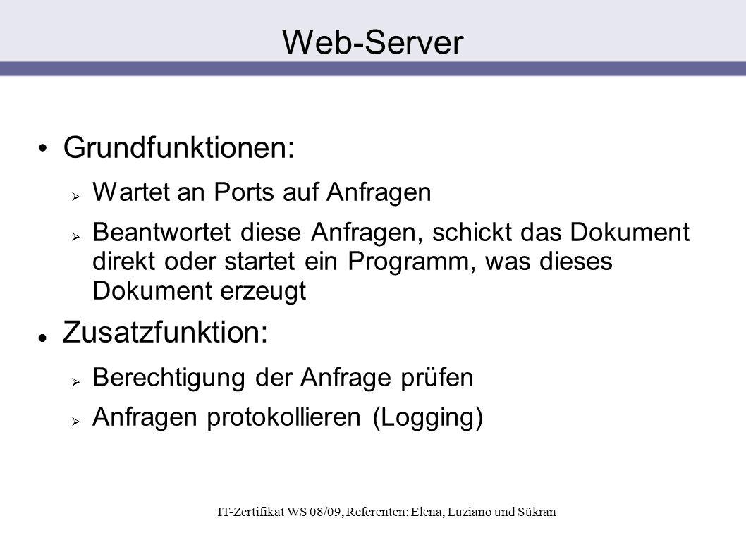 IT-Zertifikat WS 08/09, Referenten: Elena, Luziano und Sükran