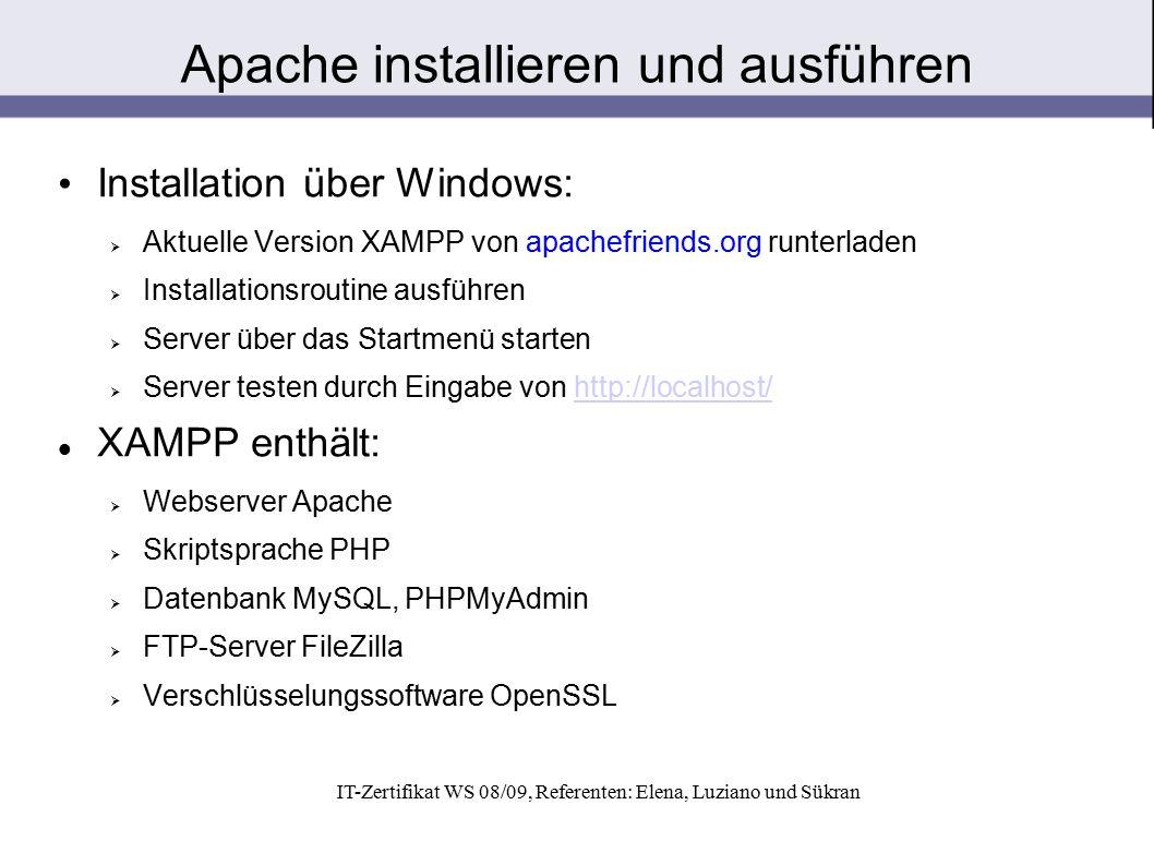 Apache installieren und ausführen