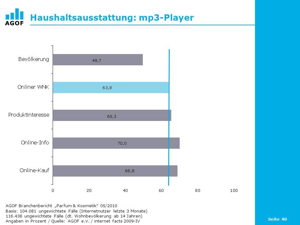 Haushaltsausstattung: mp3-Player