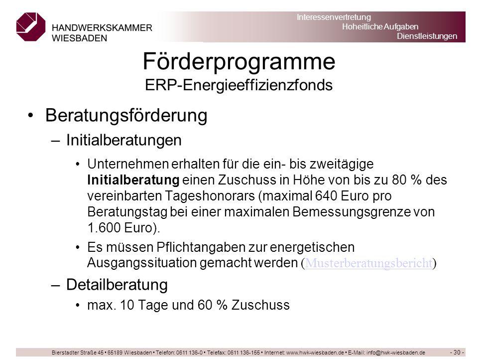 Förderprogramme ERP-Energieeffizienzfonds