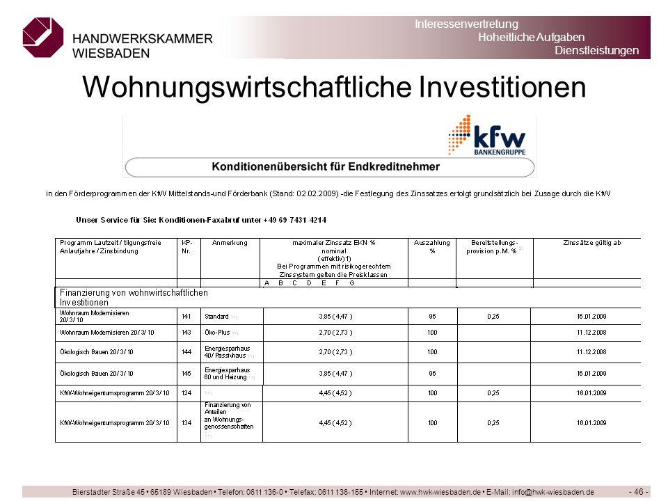 Wohnungswirtschaftliche Investitionen