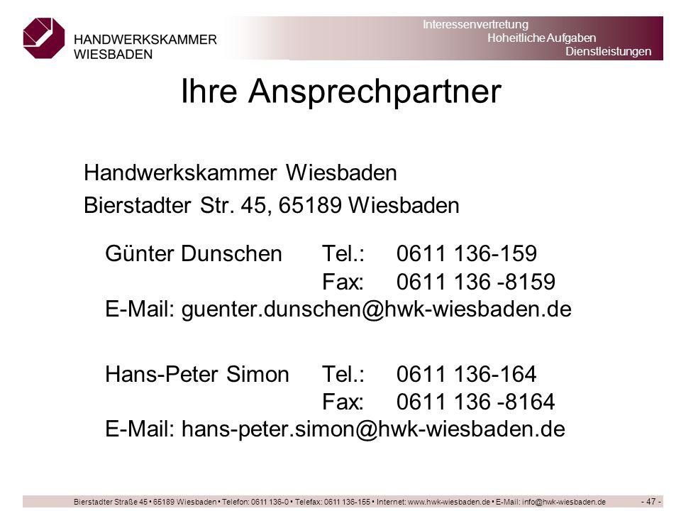 Ihre Ansprechpartner Handwerkskammer Wiesbaden