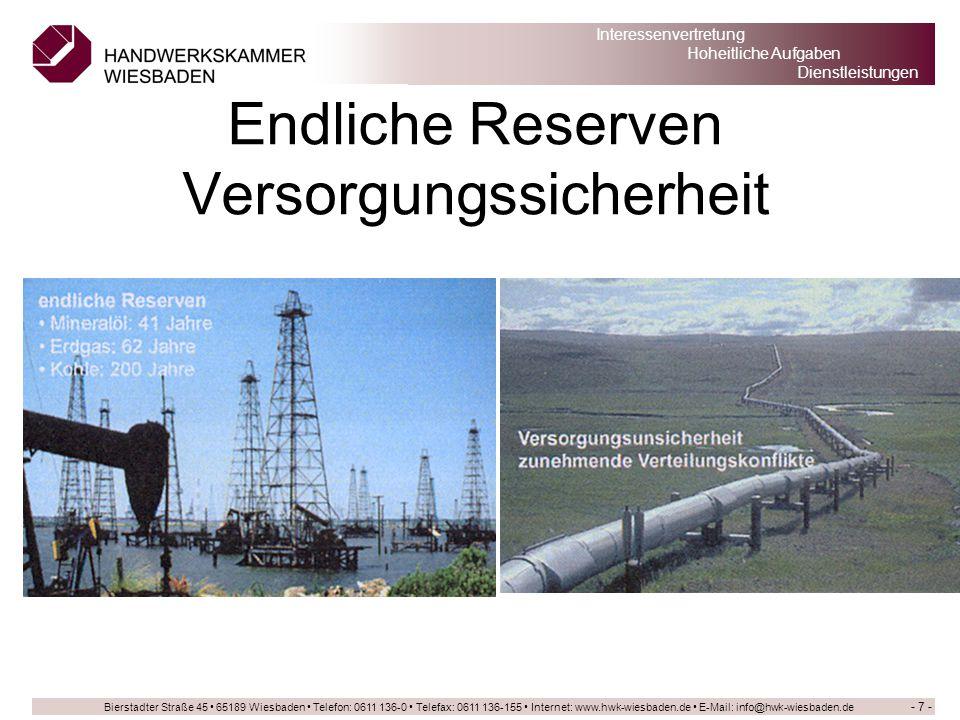 Endliche Reserven Versorgungssicherheit