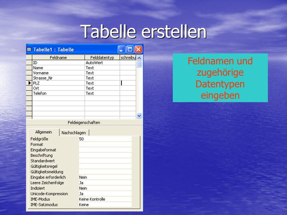 Feldnamen und zugehörige Datentypen eingeben