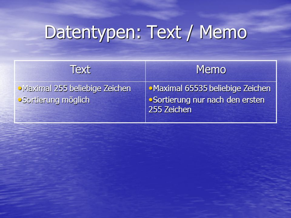 Datentypen: Text / Memo
