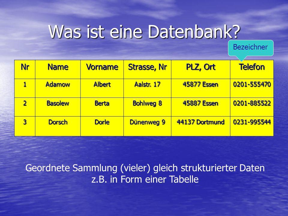 Was ist eine Datenbank Bezeichner. Nr. Name. Vorname. Strasse, Nr. PLZ, Ort. Telefon. 1. Adamow.