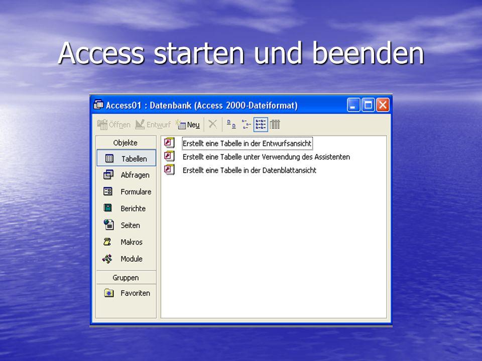 Access starten und beenden
