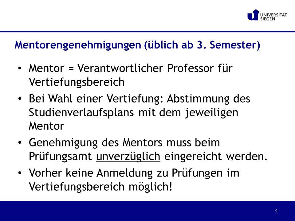Mentor = Verantwortlicher Professor für Vertiefungsbereich
