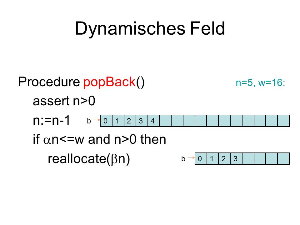Dynamisches Feld Procedure popBack() assert n>0 n:=n-1