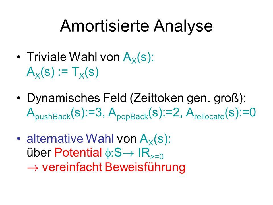 Amortisierte Analyse Triviale Wahl von AX(s): AX(s) := TX(s)