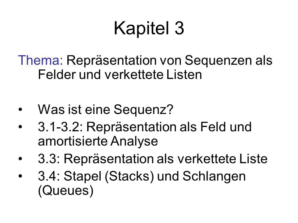 Kapitel 3 Thema: Repräsentation von Sequenzen als Felder und verkettete Listen. Was ist eine Sequenz