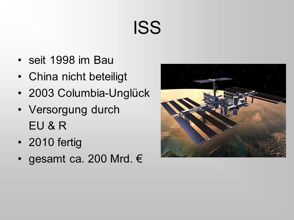 ISS seit 1998 im Bau China nicht beteiligt 2003 Columbia-Unglück