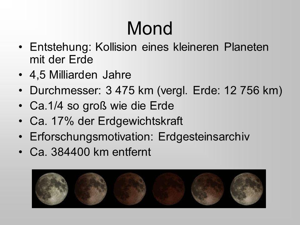 Mond Entstehung: Kollision eines kleineren Planeten mit der Erde