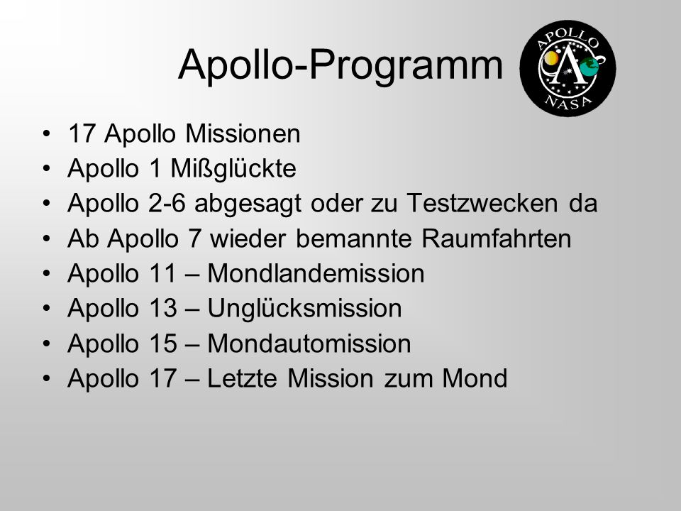 Apollo-Programm 17 Apollo Missionen Apollo 1 Mißglückte
