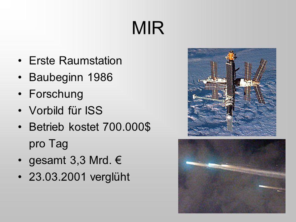 MIR Erste Raumstation Baubeginn 1986 Forschung Vorbild für ISS