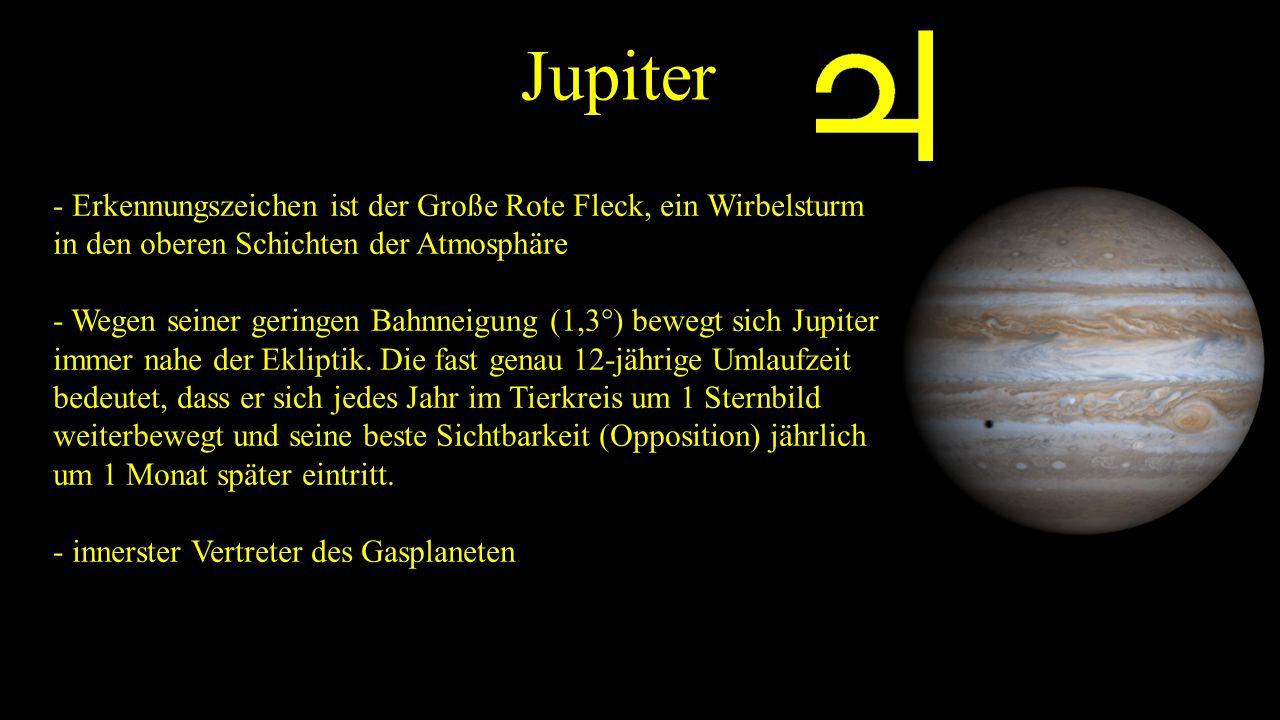 Jupiter - Erkennungszeichen ist der Große Rote Fleck, ein Wirbelsturm in den oberen Schichten der Atmosphäre.