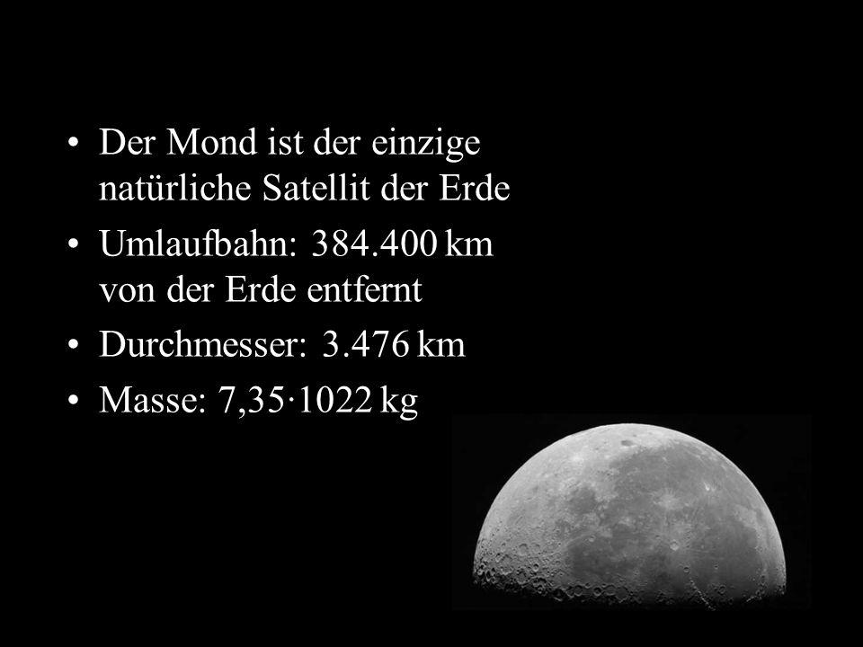 t Der Mond ist der einzige natürliche Satellit der Erde