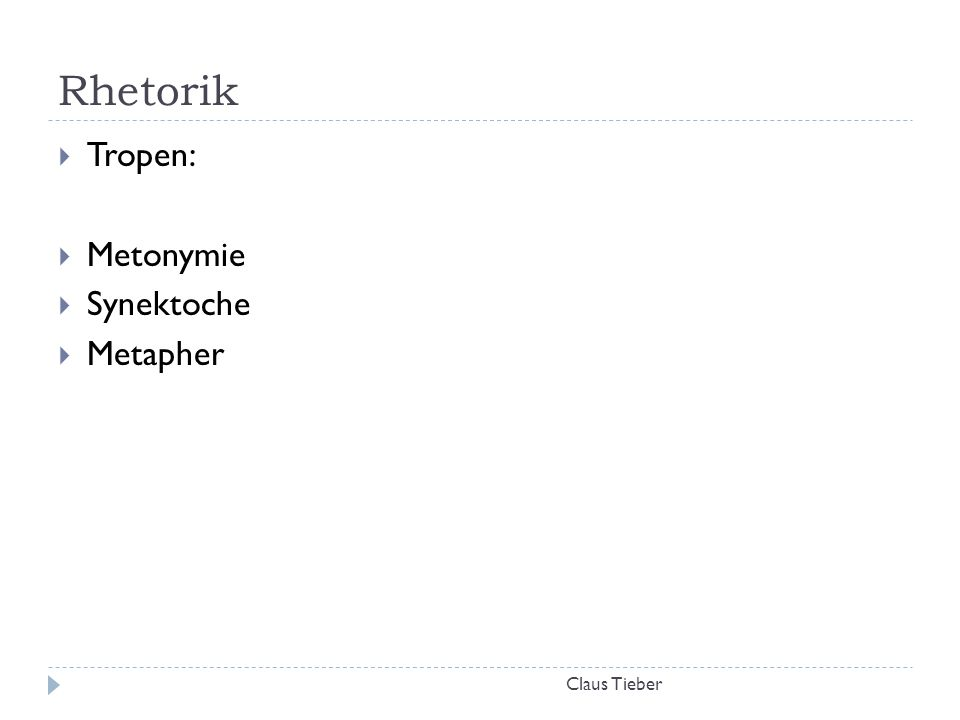 Rhetorik Tropen: Metonymie Synektoche Metapher Claus Tieber