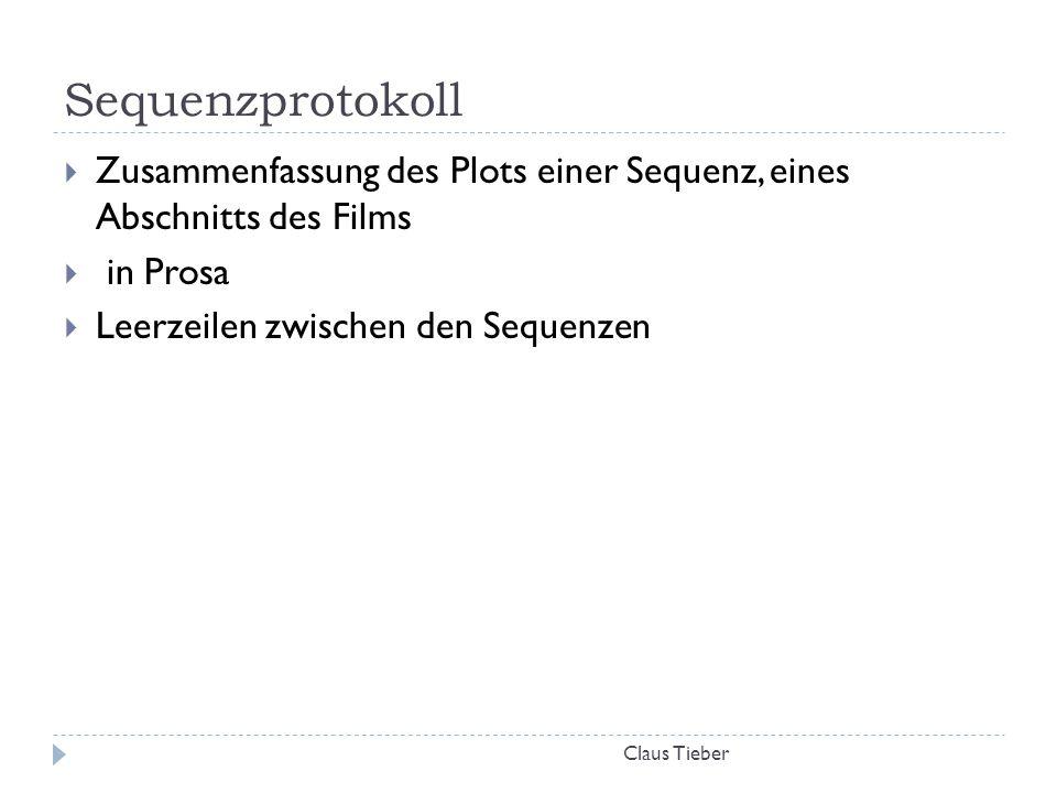 Sequenzprotokoll Zusammenfassung des Plots einer Sequenz, eines Abschnitts des Films. in Prosa. Leerzeilen zwischen den Sequenzen.