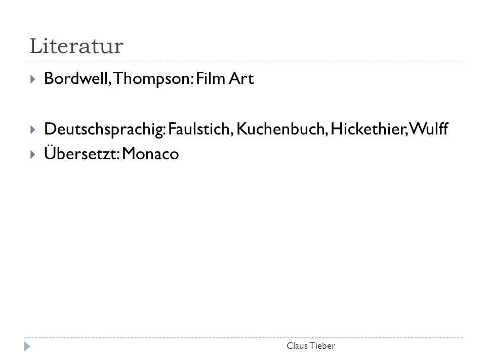 Literatur Bordwell, Thompson: Film Art