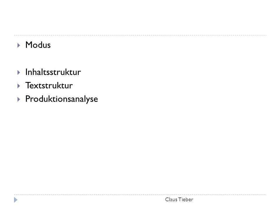 Modus Inhaltsstruktur Textstruktur Produktionsanalyse Claus Tieber