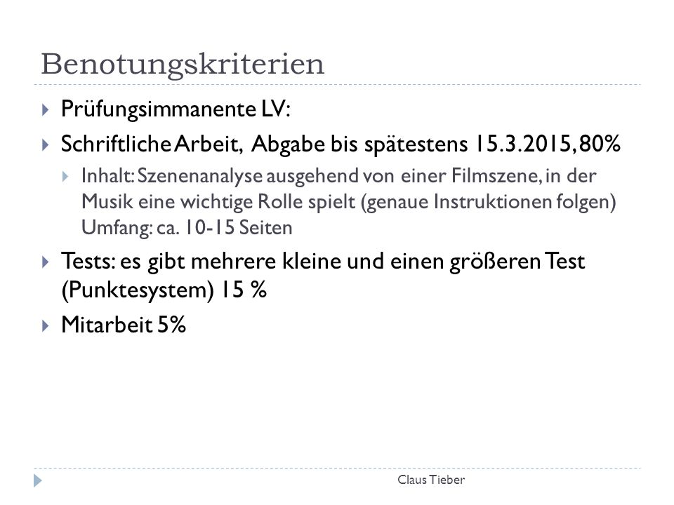 Benotungskriterien Prüfungsimmanente LV: