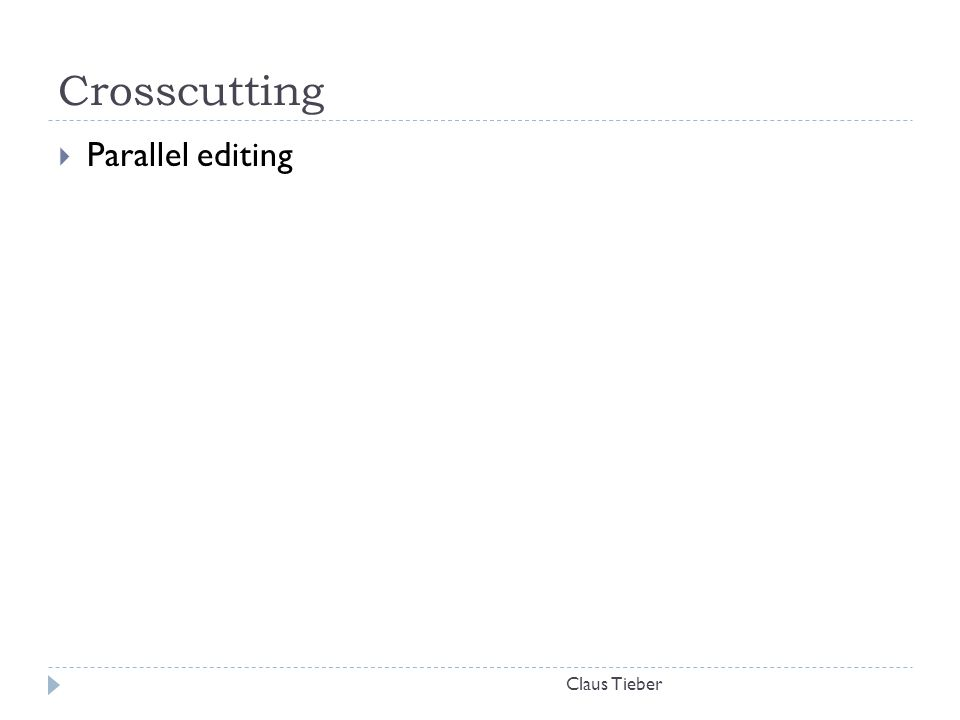 Crosscutting Parallel editing Claus Tieber