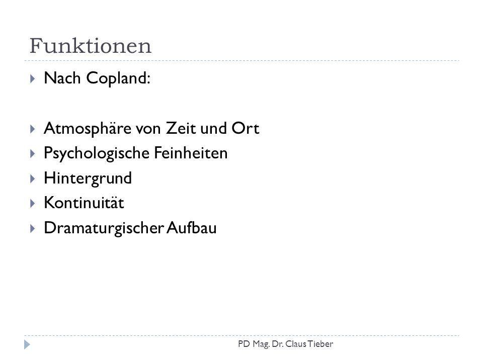 Funktionen Nach Copland: Atmosphäre von Zeit und Ort