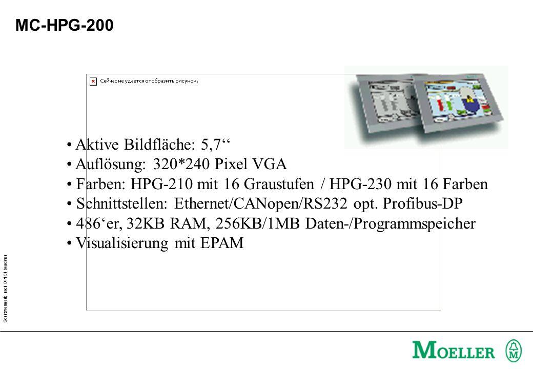 MC-HPG-200 Aktive Bildfläche: 5,7'' Auflösung: 320*240 Pixel VGA. Farben: HPG-210 mit 16 Graustufen / HPG-230 mit 16 Farben.