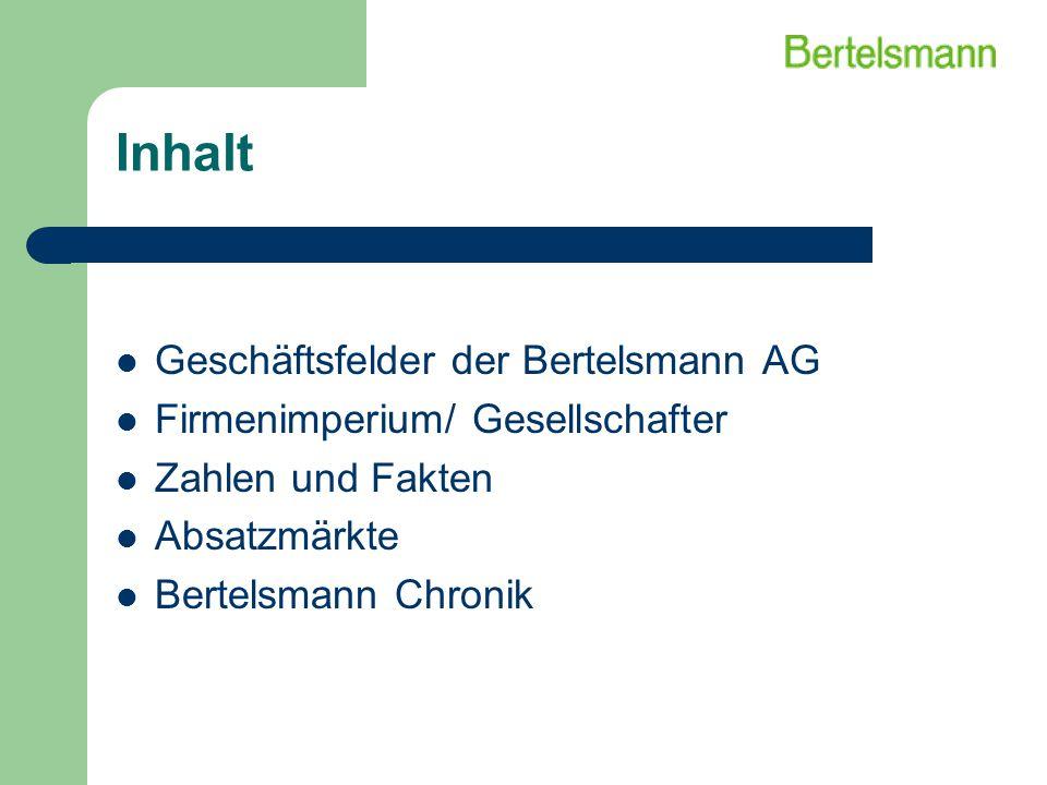 Inhalt Geschäftsfelder der Bertelsmann AG